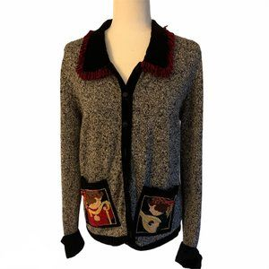 Sharon Young Velvet Holiday Knit Cardigan M